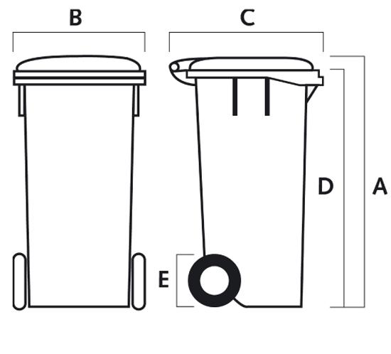 60lt low/high waste bins